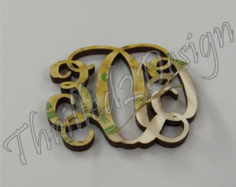 Peel and Stick Vine Monogram Unfinished w Permanent Sticker - Laser Cut