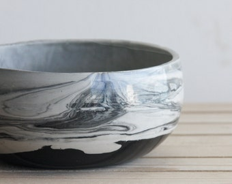 Marble black and white.Handmade ceramic bowl with glossy glaze