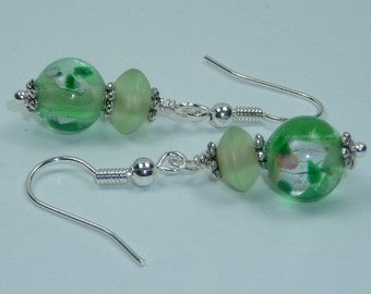 Sea Green with Rose Lampwork Bead and Abyssinian Bicone Bead earrings