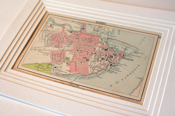 Items Similar To Quebec City Map 1800s Antique Vintage Map