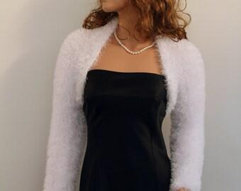 Made to ORDER. Hand knitted Wedding Bridal  Eyelash Glitz White or Optical White colour Shrug Bolero, long sleeves, Bridal Shrug Bolero