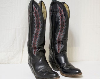 Abeline, Cowboy Boots, Leather boots,Women's 5.5, Stitched ,Western, Shoes , black, red ,white