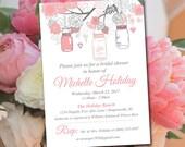 Rustic Bridal Shower Invitation Template - Mason Jar Wedding Shower Template Blush Pink Smoke Gray Shower Invitation Download
