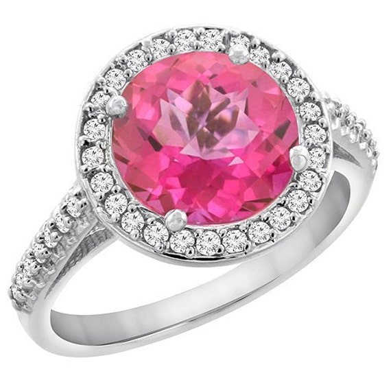 10k white gold pink topaz ring 8mm by