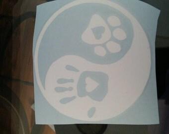 Ying Yang Paw Print Human Heart