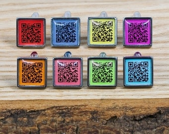 QR Code Square Cufflinks Coloured Background - Secret Message Cufflinks