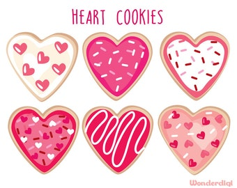 Valentines Day Clipart - Heart Cookie Clip Art  Heart Shaped Cookies Dessert - Food Illustration