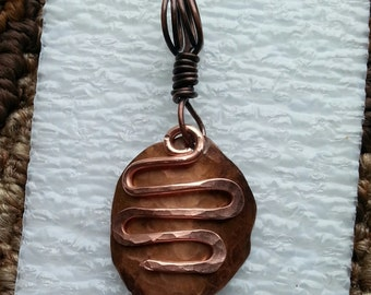 Hammered copper pendant with dangle #38