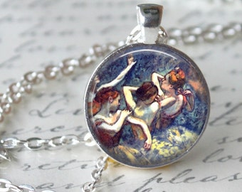 BALLERINAS by Edgard Degas Pendant Necklace Ballet Jewerly for Dancer Ballerina Art Necklace Handmade Glass Pendant (209)