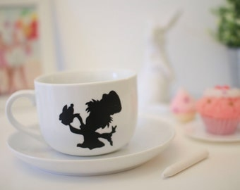 Mad Hatter soup mug cup chalkboard alice in wonderland all mad here tea time coffee