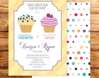 5x7 Cupcake or Stud Muffin Gender Reveal Announcement Invitation Boy or Girl?