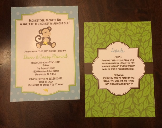 5x7 Monkey Jungle Themed Baby Shower Invitation in Blue, Green and Brown