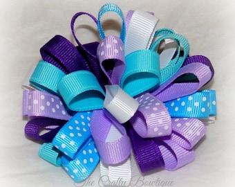 Purple & Blue Bow ~ Blue Polka Dot ~ Purple Polka Dot Bow ~ Polka Dot Loopy Bow ~ Small Loopy Bow ~ Baby Toddler Bow ~ Girls Polka Dot Bow