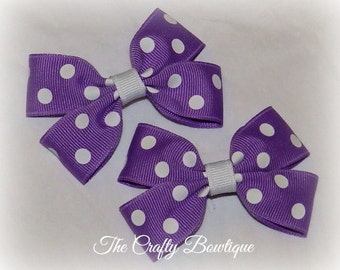 Purple & White Bow ~ Purple Polka Dot Bow ~ Small Purple Bows ~ Purple Clippies ~ Purple Pigtail Bows ~ Purple Baby Bows ~ Purple Hair Clip