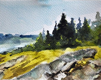 ORIGINAL Watercolor Landscape Painting, Mountain Lake Landscape 4x6 inch