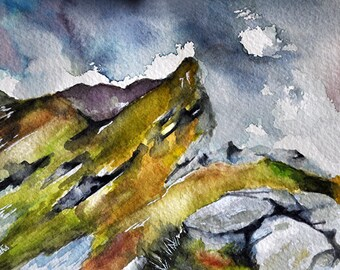 Original Watercolor Painting, Impressionist Landscape, Mountain Painting 5x7 inch