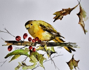 ORIGINAL Watercolor Painting, Yellow Bird Watercolor Illustration 7x10 Inch