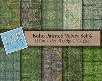 Fabric Digital Paper - Green Velvet - Digital Paper - Instant Download Seamless Greenery Printable Background for Personal Use
