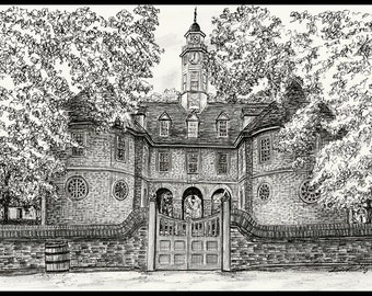 Pen and Ink print of the Capital builidng in Colonial Williamsburg