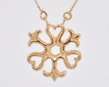 Fine Jewelry Pendant , 14k Gold Pendant ,  Solid Gold Pendant , Fine Gold Necklace , Celtic Jewelry , Celtic gold Pendant , Gold Heart