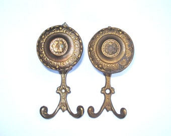 Antique Big Brass Wall Hook Set/ Country style ornate brass hooks/ Coat or Towel Hooks,1960s