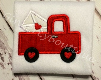 Valentine Pickup Truck Shirt or Bodysuit, Boys Valentine Shirt, Valentine Shirt for Boy, Boy Heart Shirt, Truck with Hearts Shirt