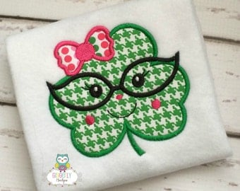 Girl Shamrock with Bow and Glasses St Patricks Day Shirt or Bodysuit, Girl Shamrock Shirt, Girl St Patricks Day Shirt, St Patricks Day Shirt