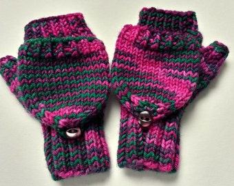 Convertible Fingerless Gloves for Babies, dark green, pink, Merino Wool, Mittens with Flap, Gift for Babies
