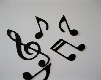 Black Music Notes Table Confetti / Musical Theme Party Decor Decoration Table Scatter Scrapbook Embellishments  / 100 Pieces