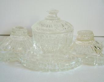 Clear glass vanity set for vintage dressing table set