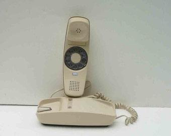 Vintage Rotary Phone Trimline Princess Flesh Tone Mid Century Western Electric Long Cord Wall Telephone Primitive Electronic Wall Decor