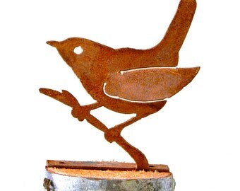 Wren on a Branch - Steel Silhouette with Rusty Patina