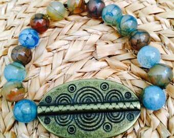 Aqua Agate Tribal Bracelet.