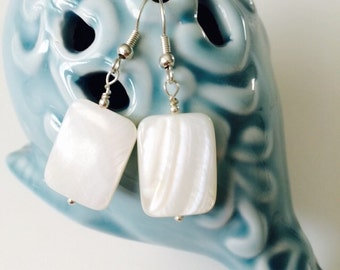White Mother of Pearl Earrings.