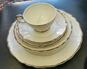 Vintage mid century modern harmony house set of china in the Silver Sonata pattern. 91 pieces Setting for 12.