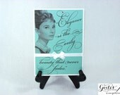 Handmade Breakfast at Tiffany's Quotes, Customizable Audrey Hepburn Party Signs, Favors, Decorations. Elegance is the only beauty, Blue Sign