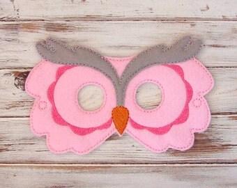 Kids Owl Mask - Pink - Gray - Animal - Costume - Dress Up - Halloween - Felt- Party Favors