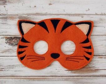 Tiger Mask - Felt - Kids Mask - Jungle - Costume - Animal Mask - Halloween - Pretend Play