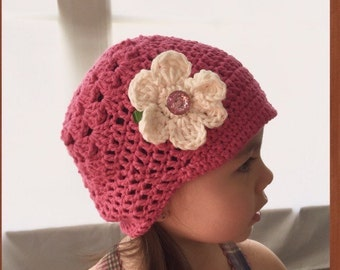 Pink Turquoise or Cream Summer Hat With Flower - Soft Cotton Crochet Hat with Flower- Babies, Toddlers, Kids - Choose Size and Color