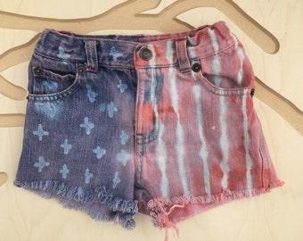American Flag toddler cutoff shorts
