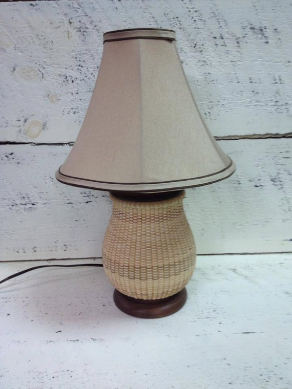 Woven Basket Lamp : Basket lamp hand woven by beadazzledandbeyond