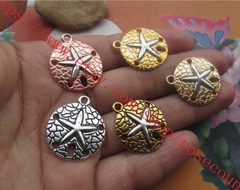 New Arrival wholesale 50pcs 20mm assorted filigree round Fishstar charms findings