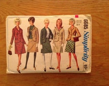 1966 women's suit Simplicity 6685 size 14, bust 34. Misses skirt & jacket vintage sewing pattern OOP. Simplicity How to Sew lesson series
