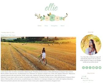 Premade Blogger Template - Vintage Blog Template - Blue - Flower Blogger Template - Mobile Responsive - Feminine