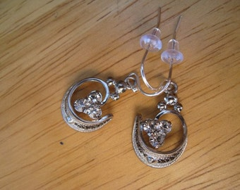 vintage sterling and crystal earrings