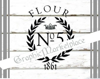 French Grain Sack Flour Instant Download collage sheet Transfer Burlap digital graphic printable No. 1048