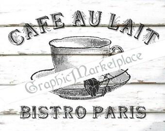 Cafe au Lait Cafes Bistro Paris Teacup French Transfer Pillows Towels digital graphic printable sheet No. 1163