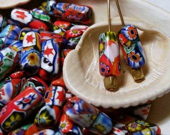 Cylinder Murano Millefiori Glass Beads // Vintage Millefiori Tube Beads // Vintage Millefiori Barrel