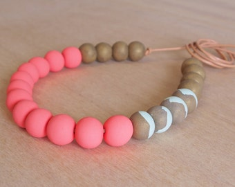 Peach, Mint and bronze polymer clay necklace
