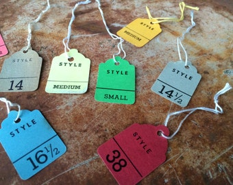 Vintage Clothing Tags,recycled vintage gift tag,vintage price tags,vintage clothing textile factory tag,repurposed clothing price tag